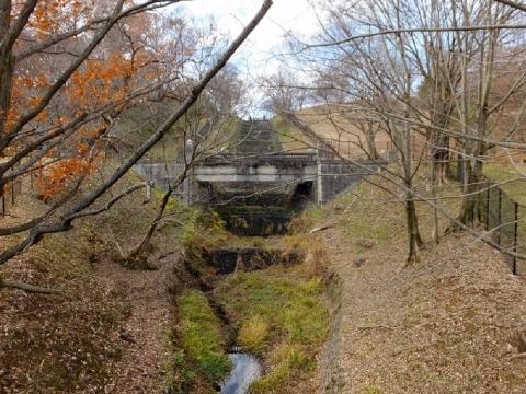 村山下貯水池・余水吐き水路・宅部川から見た瀧見橋