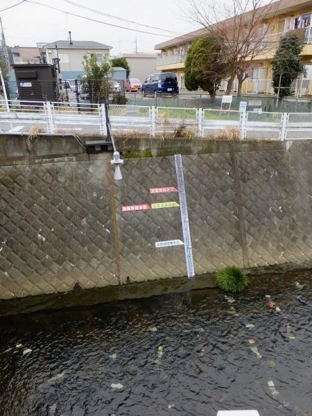 麻生川水位目盛り