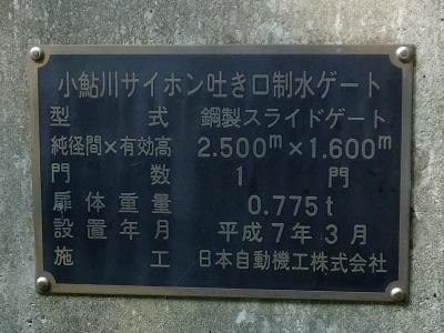 小鮎川サイフォン吐口制水ゲート銘板