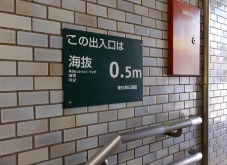 都営地下鉄菊川駅の海抜表示