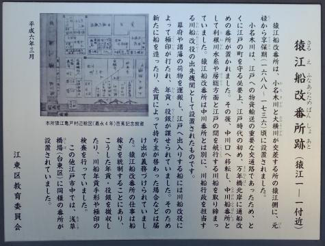 猿江船改番所跡案内板