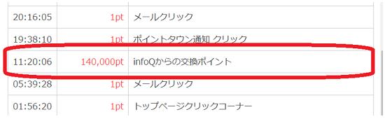 infoQ ポイント交換完了