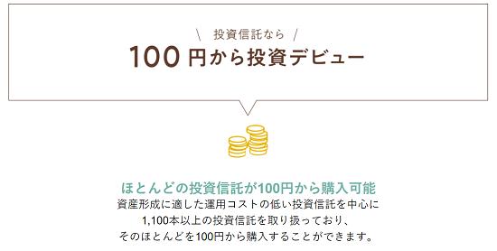 マネックス証券 100円から購入可能