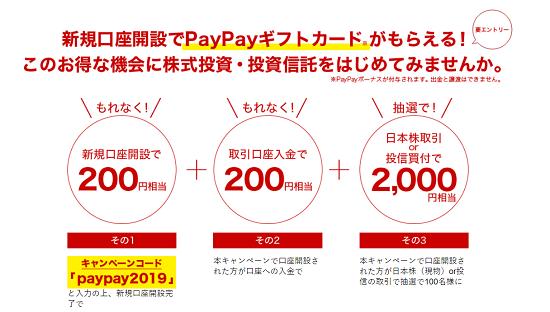 マネックス証券 PayPayボーナス貰えるキャンペーン