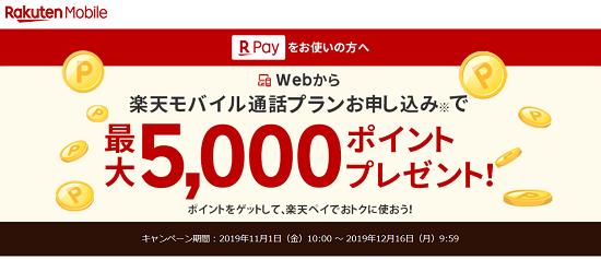 楽天モバイル 通話SIM申込で最大5,000pt貰えるキャンペーン