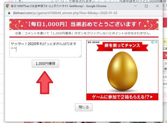 毎日1,000円ver.5 コメント登録