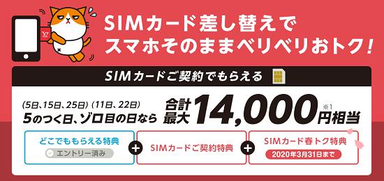 ワイモバイル 5のつく日 ゾロ目の日特典 SIMのみ