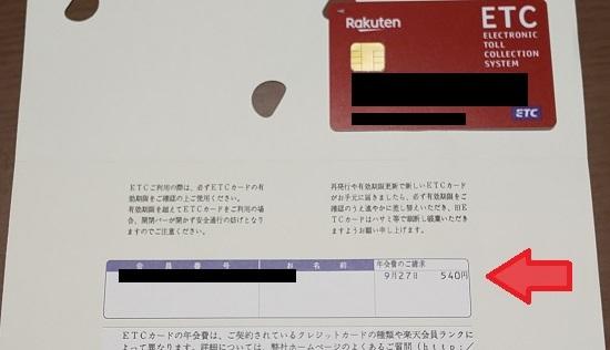 楽天ETCカード 発行台紙には一律で年会費が記載