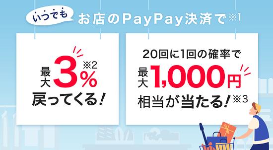 PayPay(ペイペイ) 20回に1回全額戻ってくるキャンペーン