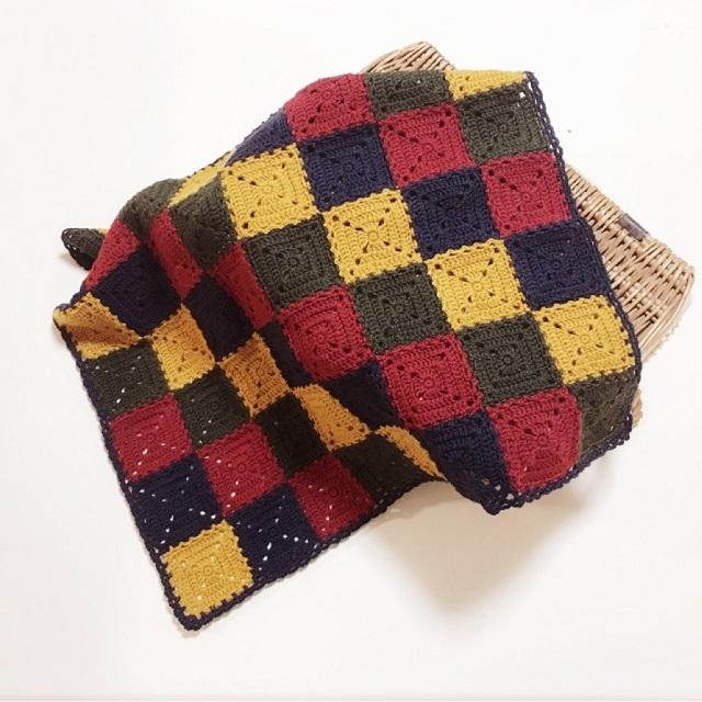 手編み雑貨,HanahanD,ひざかけ,スクエア,大人カラー,冬ギフト,ウール100%,肌に優しい