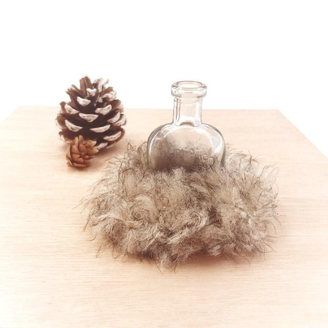 手編み雑貨,HanahanD,ファー,冬のヘアアクセサリー,エコファー,シュシュ,大人シュシュ,ふわふわ
