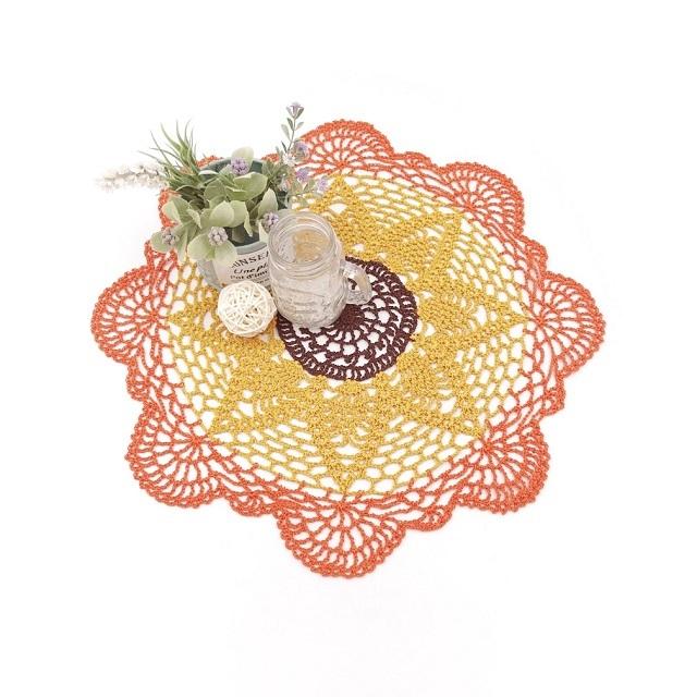 手編み雑貨 HanahanD ひまわり ドイリー レース ホワイト 敷物