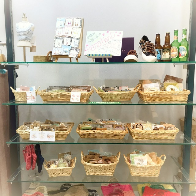 手編み雑貨,HanahanD,平和堂水口店,シャンブレー,手編み販売,委託販売,手編み小物