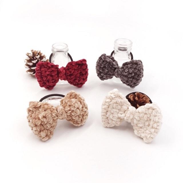 手編み雑貨,HanahanD,冬のヘアアクセサリー,リボン,コーデュロイ,大きめリボン,大人リボン,大人カラー