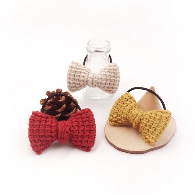 手編み雑貨,HanahanD,カシミヤ,ウール,冬,リボン,ヘアゴム