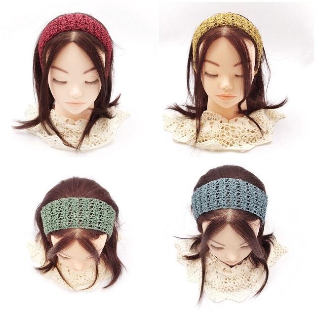 手編み雑貨,HanahanD,大人,秋色,シンプル,ヘアバンド,レースヘアバンド