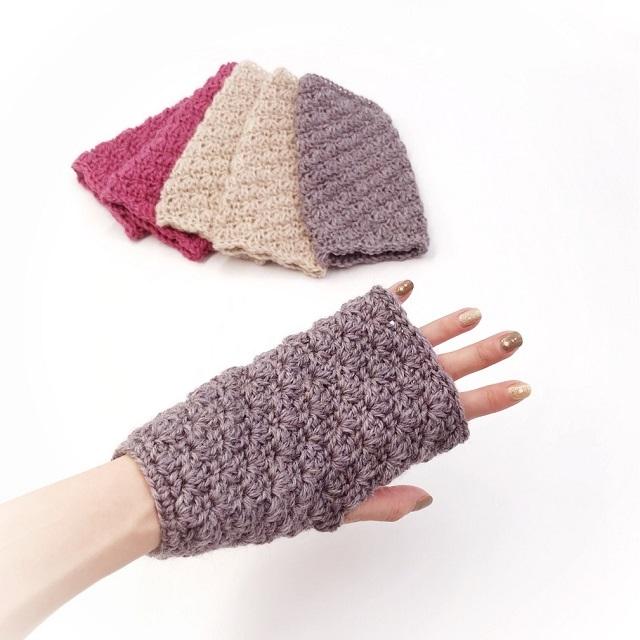 手編み雑貨,HanahanD,ハンドウォーマー,指なしハンドウォーマー,オフィスワーク,通園,冬小物,ツイードウール,暖か