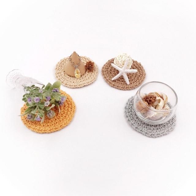 手編み雑貨,HanahanD,コースター,シンプル,丸型,洗える,コットン,ナチュラル