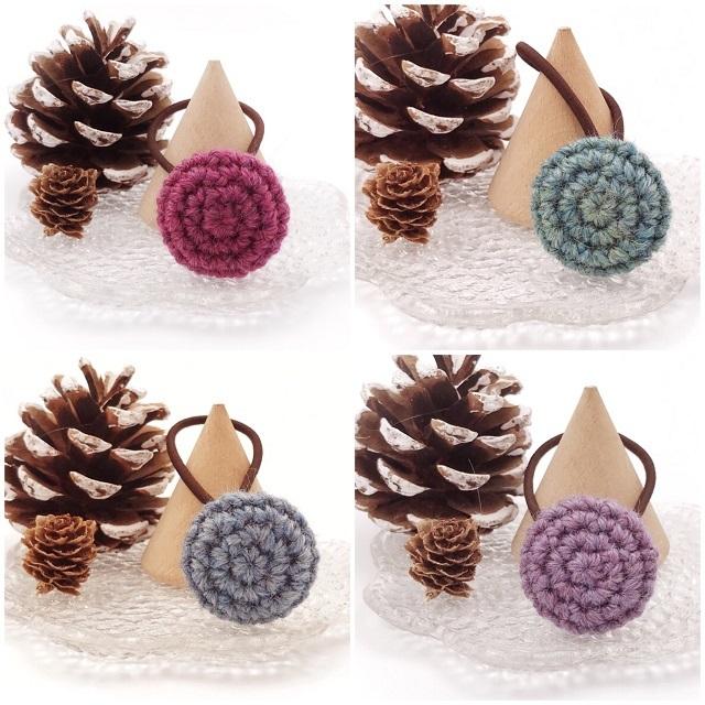 手編み雑貨,HanahanD,大人,シュシュ,冬ヘアアクセサリー,包みボタン,ウール,シンプル