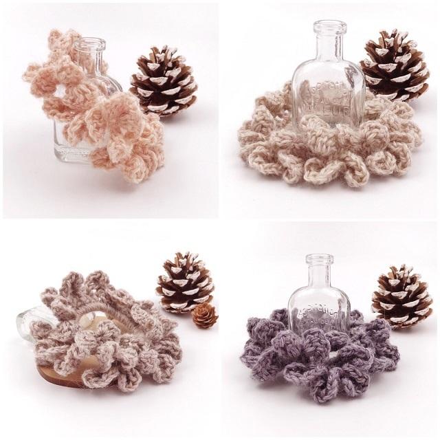 手編み雑貨,HanahanD,大人,シンプル,冬,シュシュ,フリル,ウール