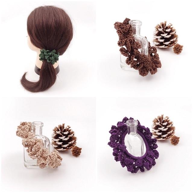 手編み雑貨,HanahanD,はなはんど,シュシュ,秋色,大人シュシュ,ヘアアクセサリー,かぎ針編み
