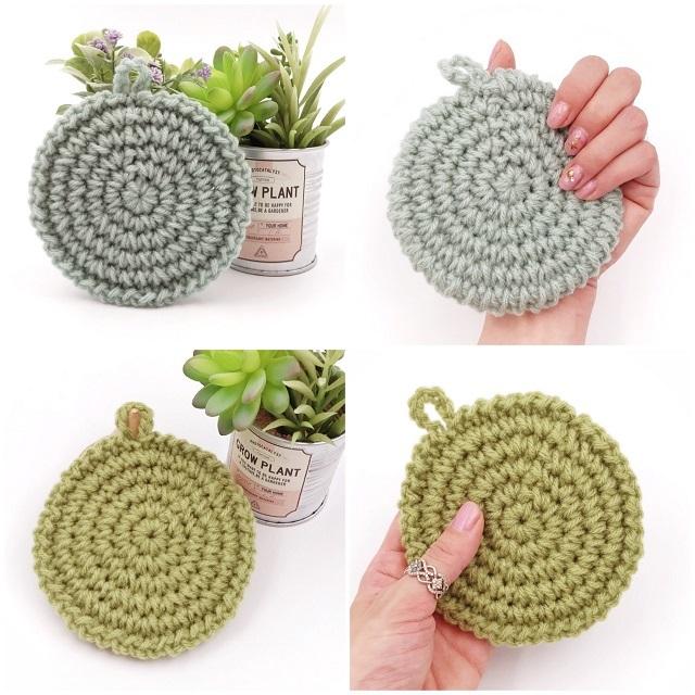 手編み雑貨,HanahanD,アクリルタワシ,使いやすいアクリルタワシ,厚手,丸型,手編み