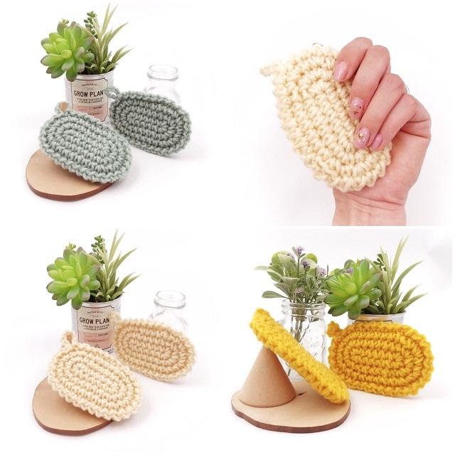 手編み雑貨,HanahanD,アクリルタワシ,厚手,2個セット,お買い得,手にフィット,使いやすいアクリルタワシ