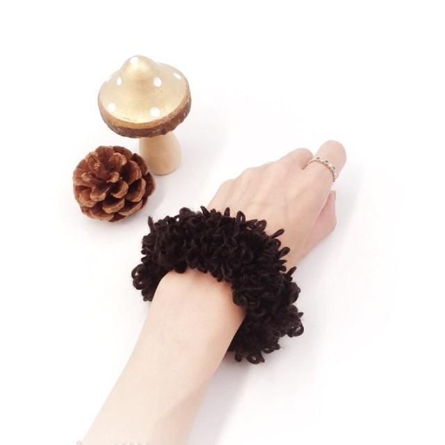 手編み雑貨,HanahanaD,変わり糸,シュシュ,冬のヘアアクセサリー,大人かわいい,シュシュ