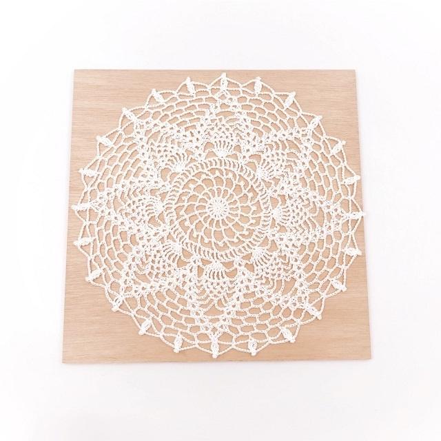 手編み雑貨 HanahanD ひまわり ドイリー ホワイト シンプル ナチュラル 敷物 レース