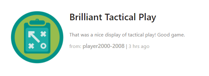 「brilliant tactical play」というトロフィーをもらった