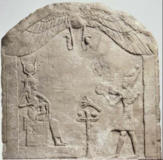 イシス女神に供物を捧げるクレオパトラ女王 写真