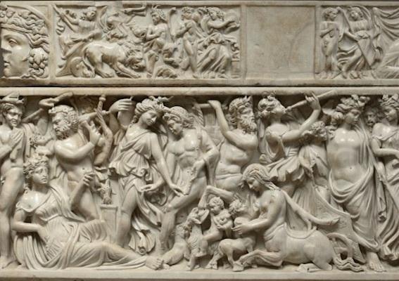 ディオニュソスとアリアドネの神話を描いた石棺 写真