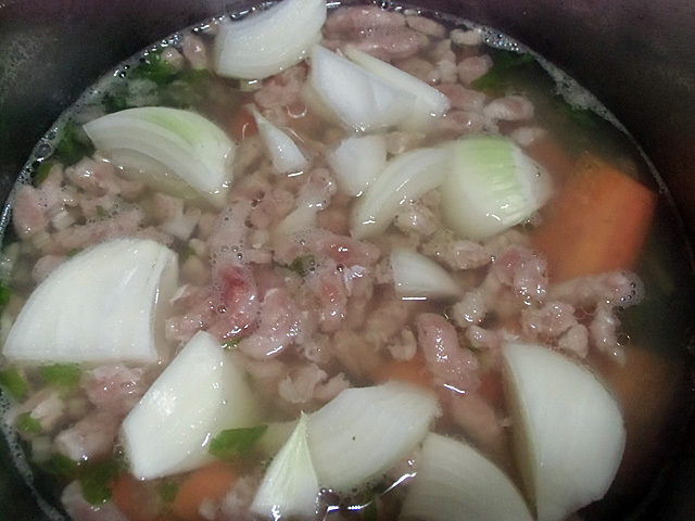 挽き肉と野菜