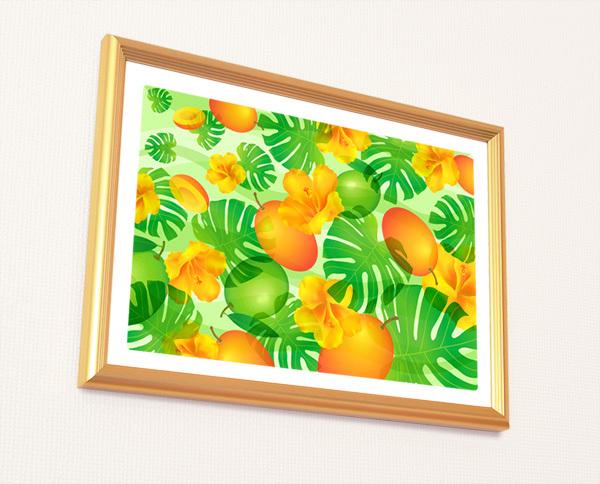 風水果実アートマンゴー&モンステラ2