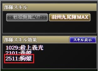 駒姫部隊スキル