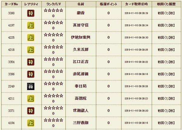 戦くじ9 極履歴