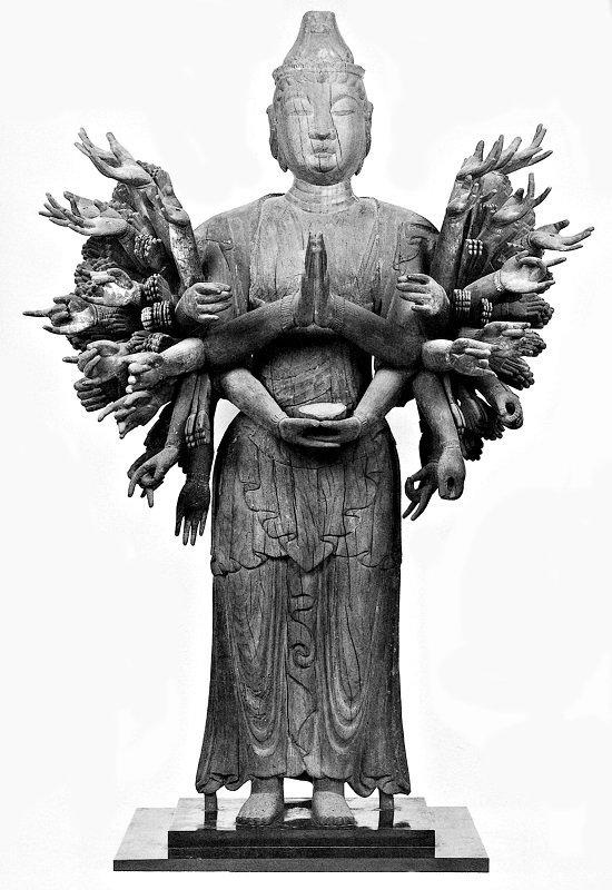 頭部と体部にズレ歪みがみられる千手観音像~「仏像東漸展」図録掲載写真