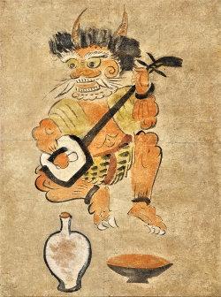日本の素朴絵展出展の大津絵「鬼の三味線弾き」