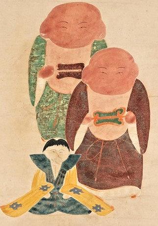 日本の素朴絵展出展の伊藤若冲筆「伏見人形図」