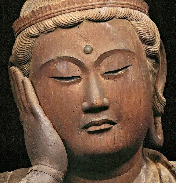 大報恩寺・六観音像~如意輪観音像(鎌倉・重文)の錐点痕のある面部