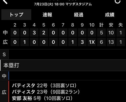 7232019 Carp vs Dragons 10回 6-5 V S