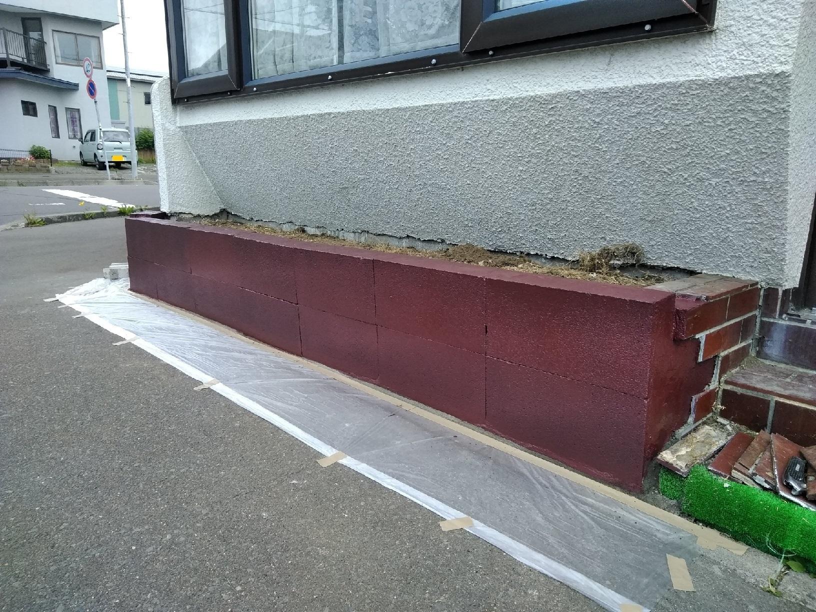 治水町K様邸 花壇 ブロック塗装4