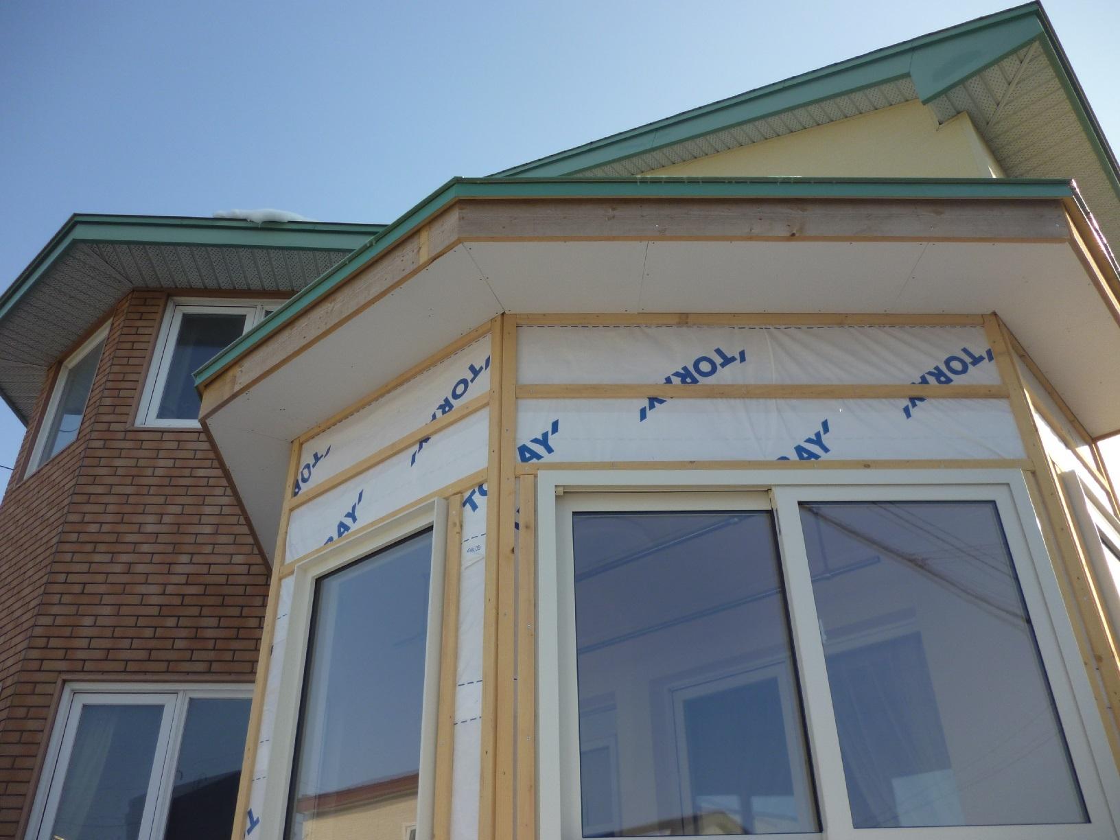 釧路町東陽K様邸 軒天塗装 施工前現状
