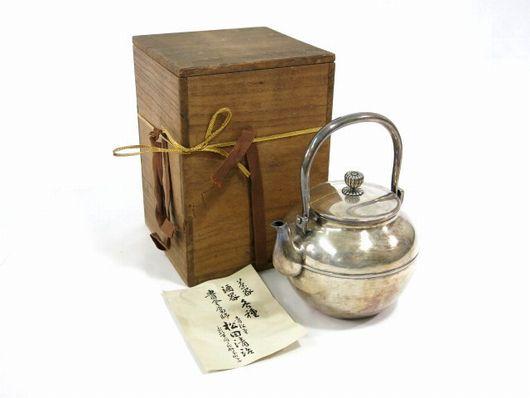 平安 青松堂造 純銀 銀瓶 湯沸 共箱