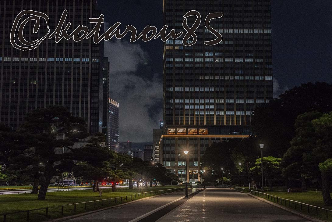 深夜の皇居前広場 20190806