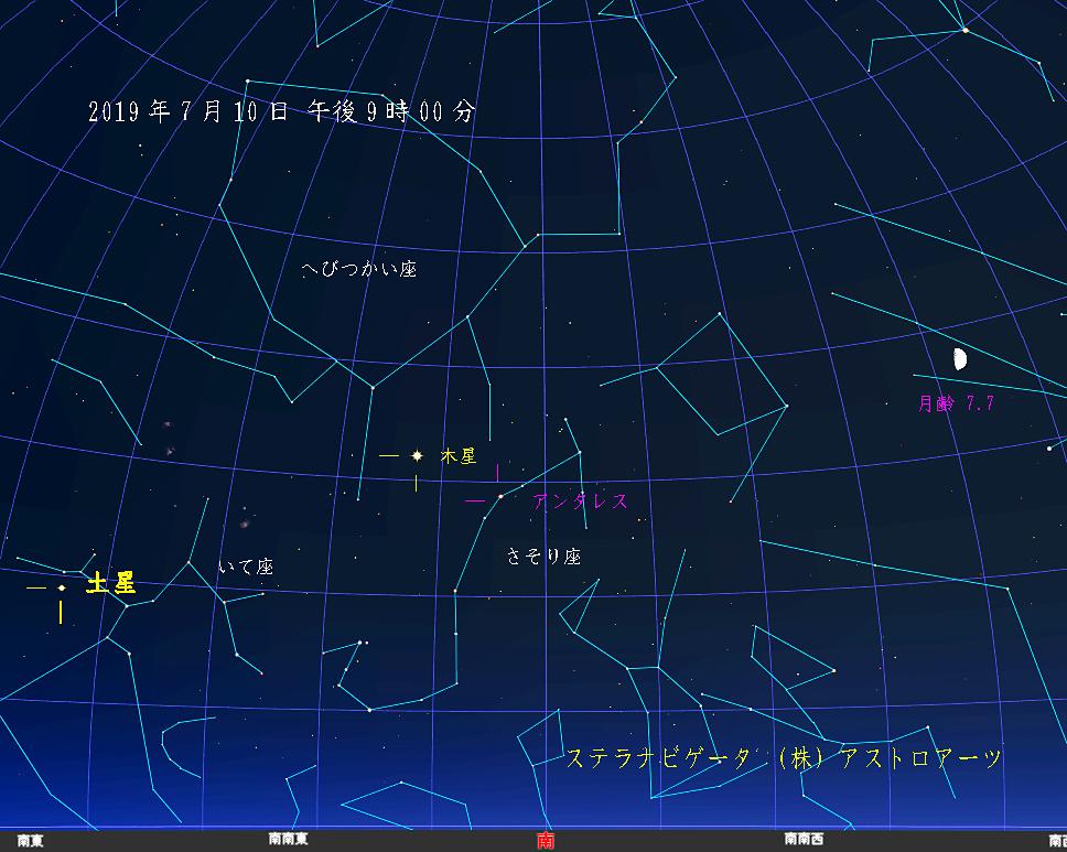 星図 2019年7月10日 午後9時