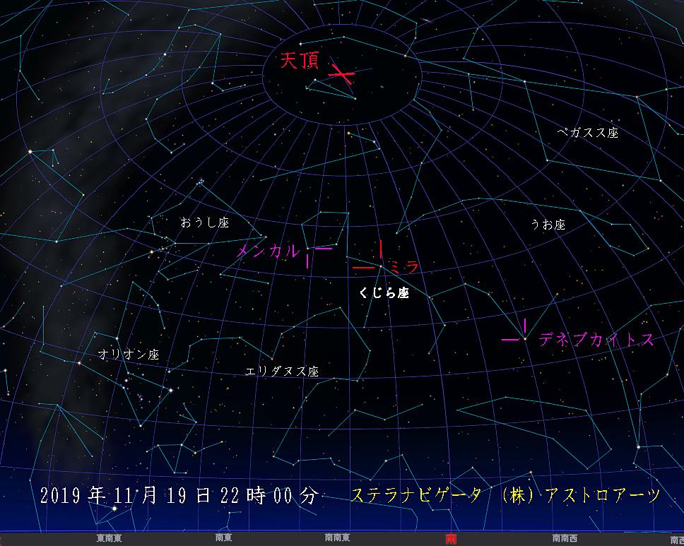 星図 2019年11月19日午後10時 くじら座ミラ