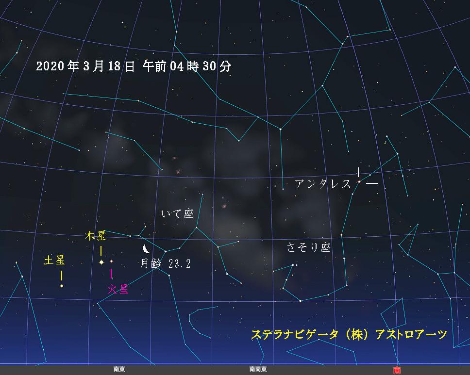 星図 2020年03月18日午前4時30分