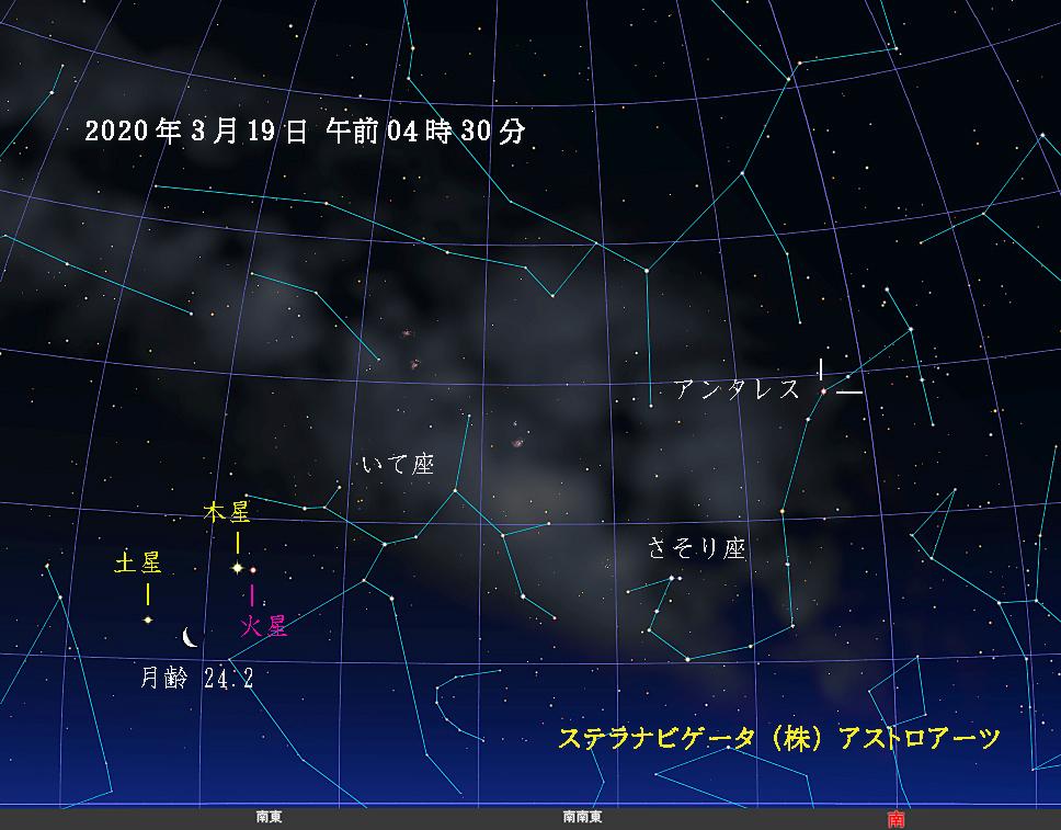 星図 2020年03月19日午前4時30分