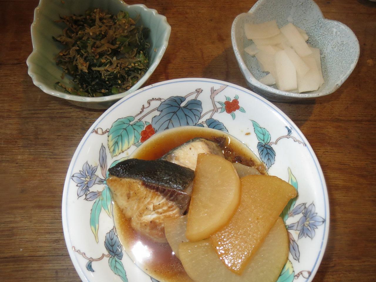 ブリ大根、ダイコン浅漬け、菜っ葉炒めもの